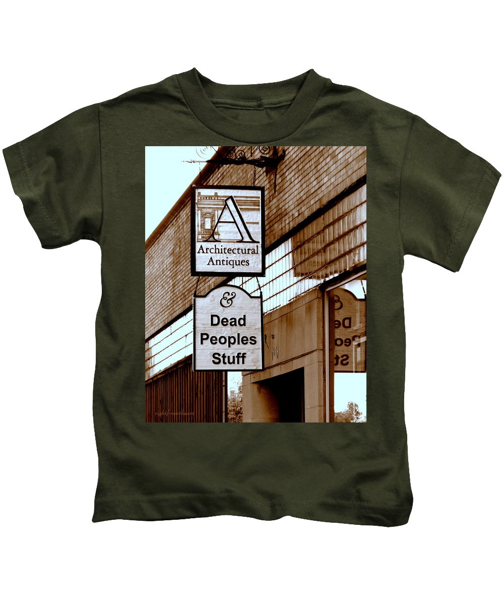 Antique Sign Kids T-Shirt featuring the photograph Dead Peoples Stuff by Bob and Kathy Frank