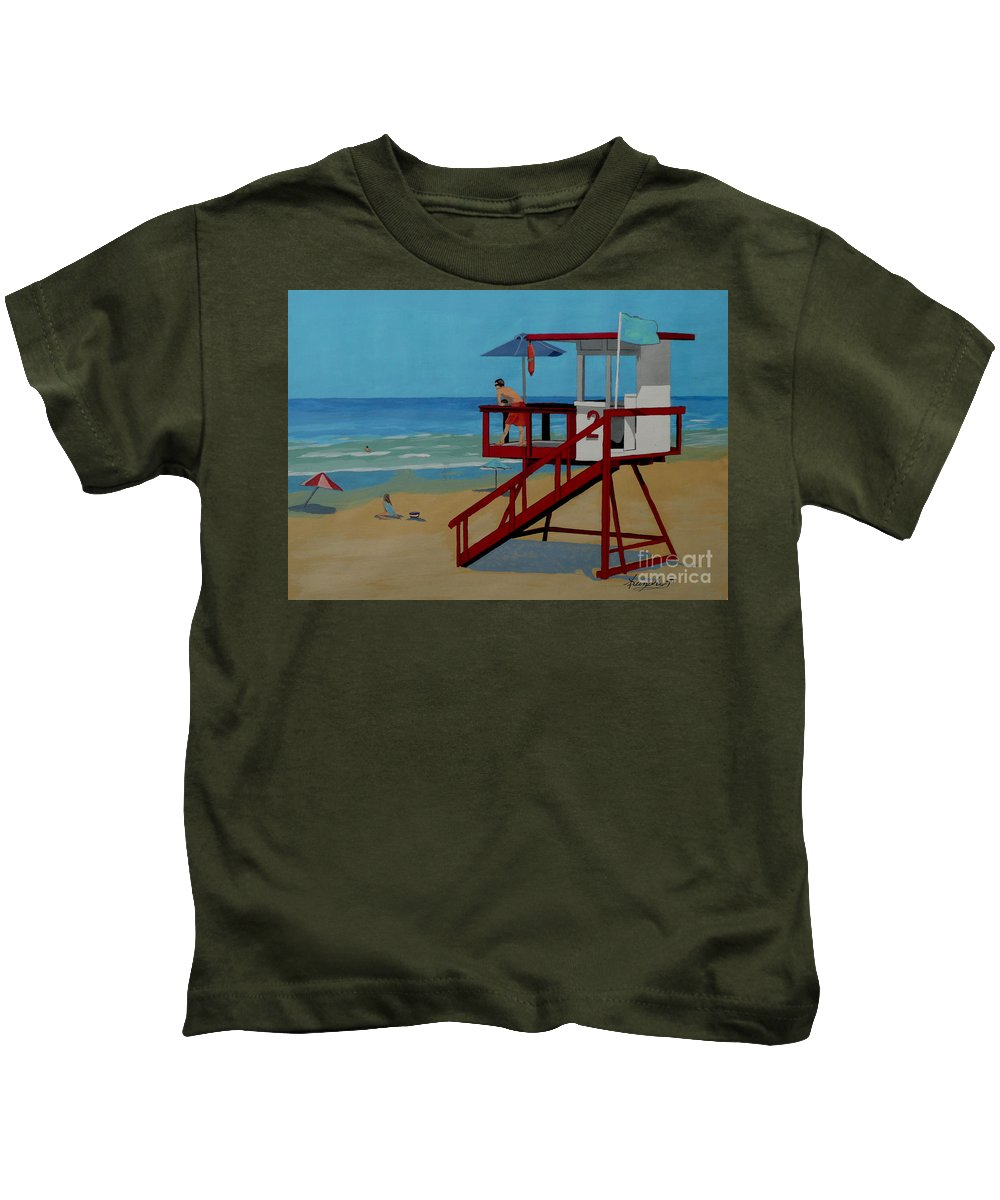 Lifeguard Kids T-Shirt featuring the painting Distracted Lifeguard by Anthony Dunphy