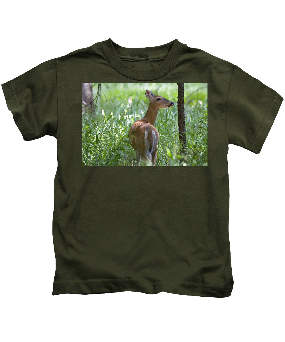 Deer Photographs Kids T-Shirt featuring the photograph Doe Meadow by Vernis Maxwell