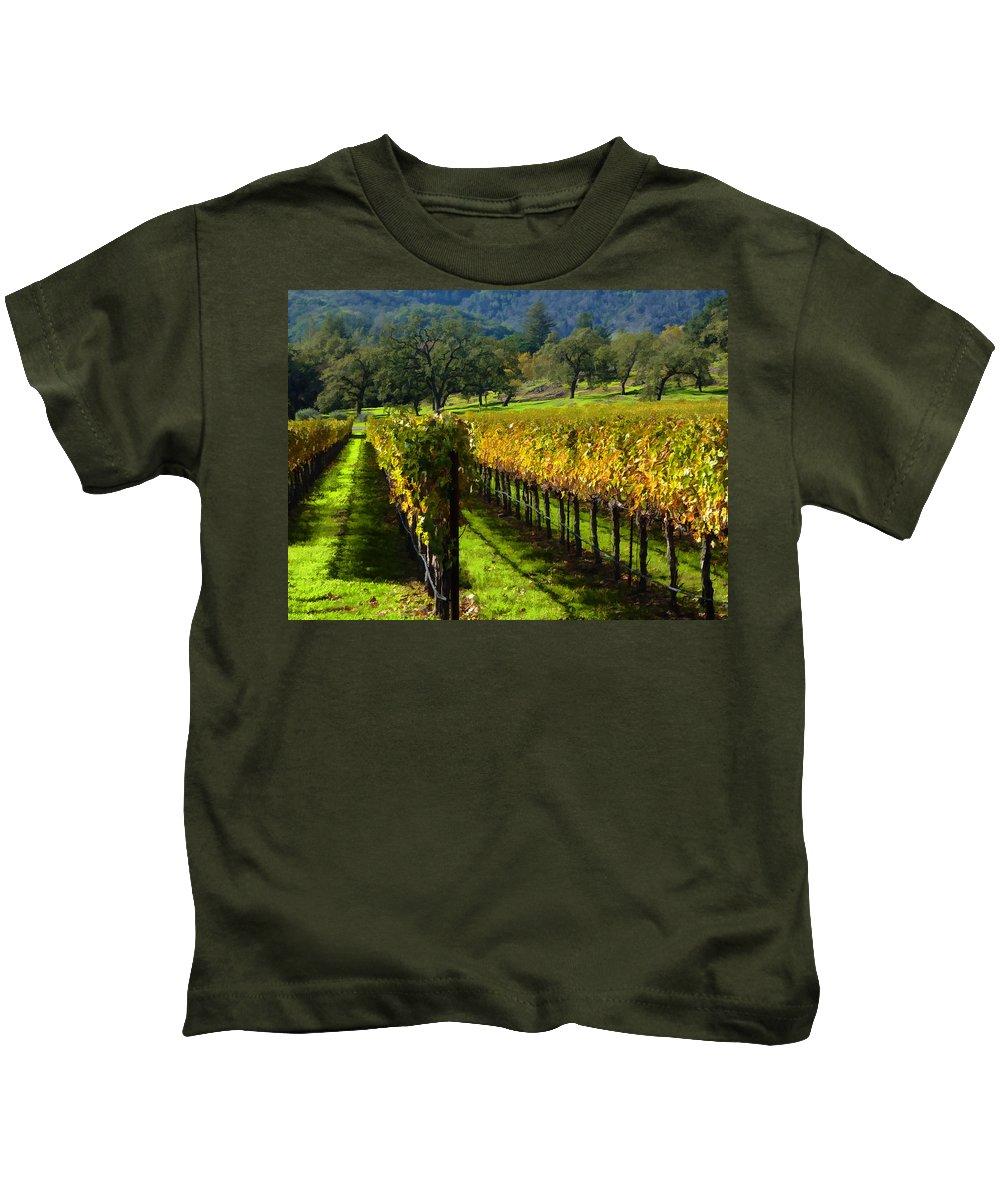 Napa Valley Kids T-Shirt featuring the photograph Domaine Chandon Vineyard by Ann Nunziata