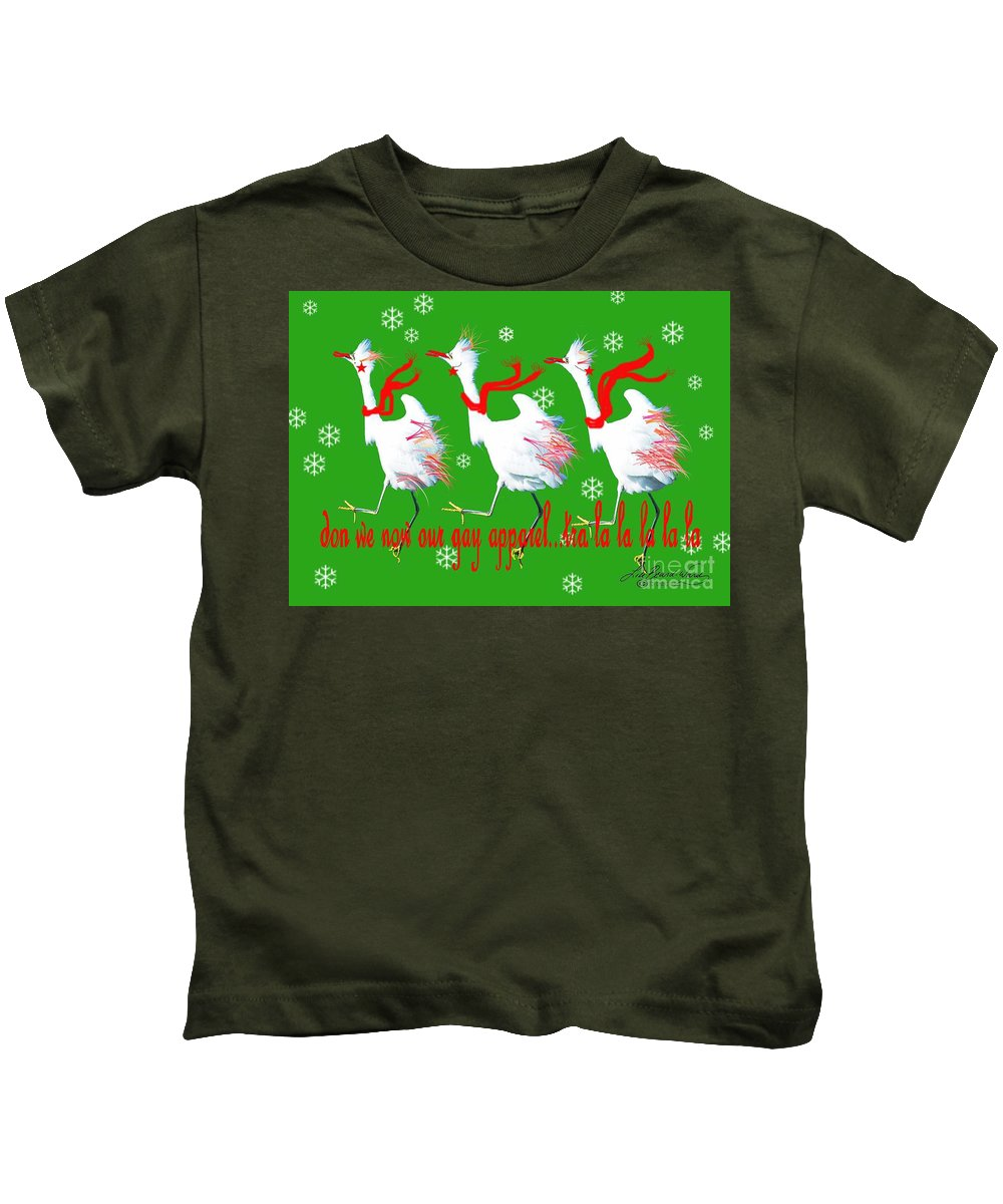 Christmas Card Kids T-Shirt featuring the digital art Don We Now Our Gay Apparel by Lizi Beard-Ward