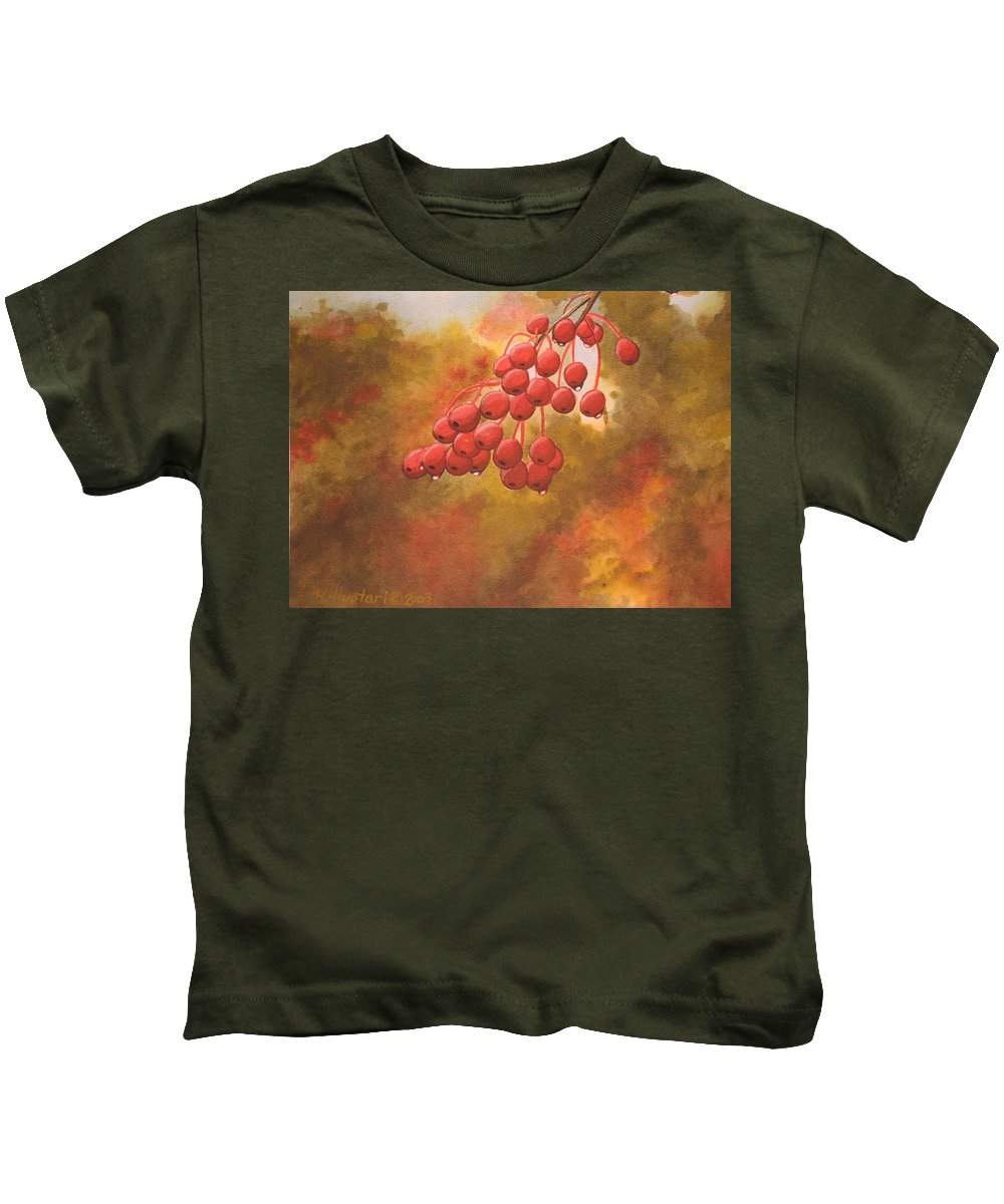 Rick Huotari Kids T-Shirt featuring the painting Door County Cherries by Rick Huotari
