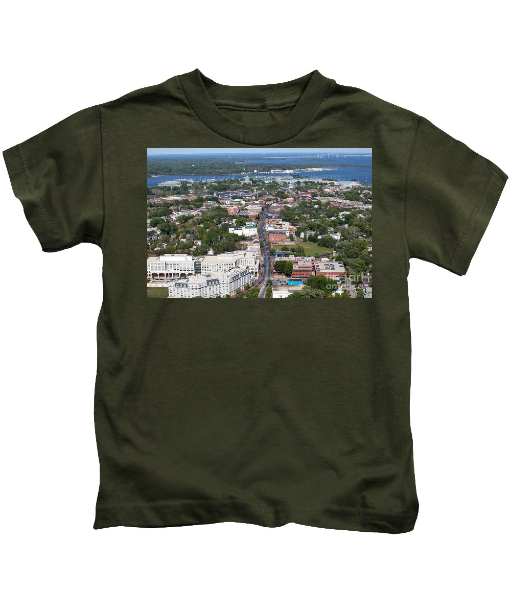 Aerial Kids T-Shirt featuring the photograph Downtown Annapolis by Bill Cobb