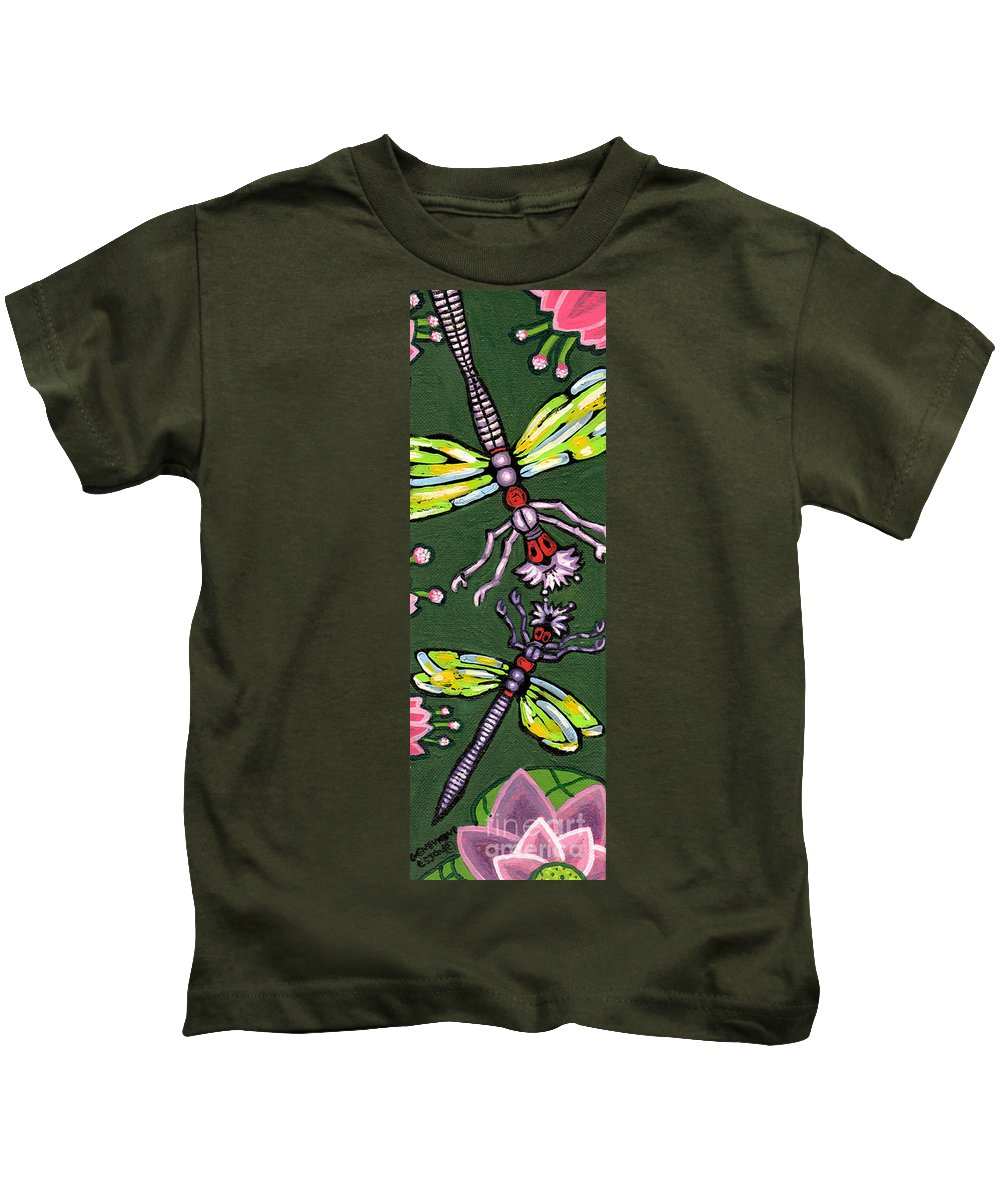 Dragonfly Kids T-Shirt featuring the painting Dragonflies And Water Lilies by Genevieve Esson