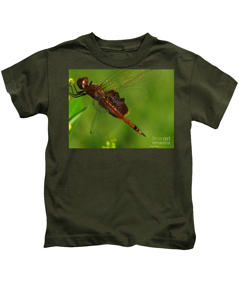 Art For The Wall...patzer Photographydragonfly Kids T-Shirt featuring the photograph Dragonfly Art 2 by Greg Patzer