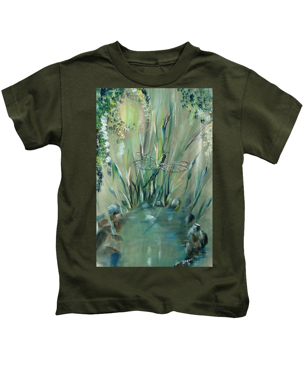 Dragonfly Kids T-Shirt featuring the painting Dragonfly by Jessica Mason