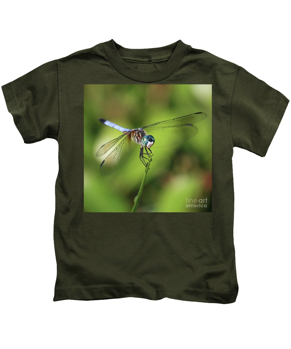 Dragonfly Kids T-Shirt featuring the photograph Dragonfly Square by Carol Groenen