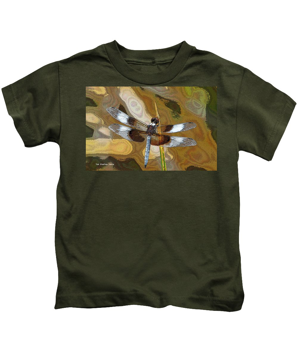 Dragonfly Waiting For A Fly Kids T-Shirt featuring the photograph Dragonfly Waiting For A Fly by Tom Janca