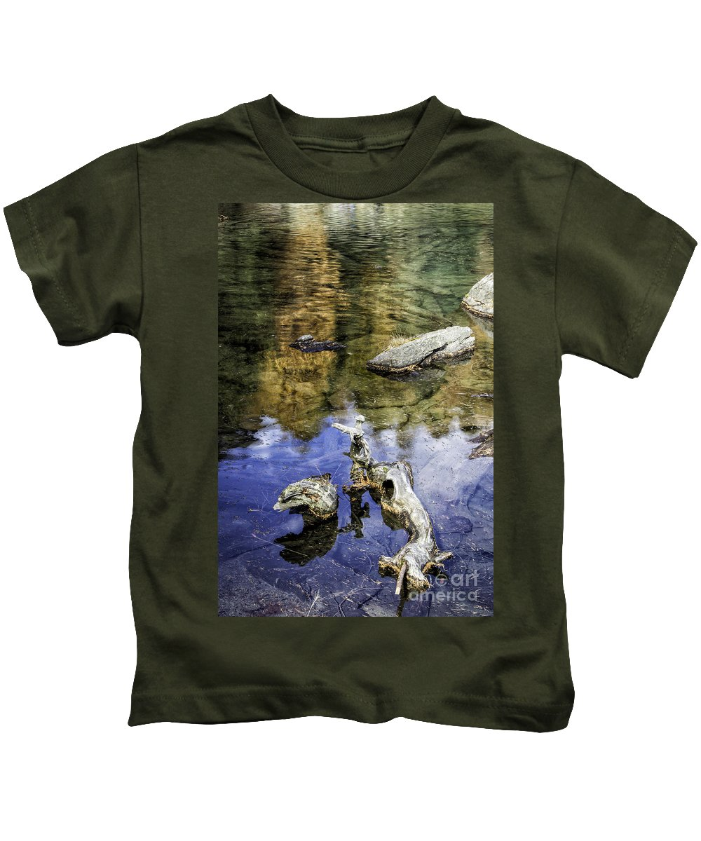 Pontresina Kids T-Shirt featuring the photograph Driftwood And Reflections by Timothy Hacker