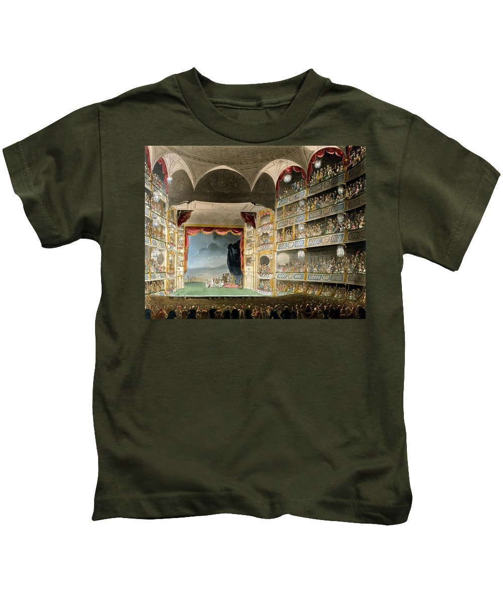 Microcosm Of London Kids T-Shirt featuring the drawing Drury Lane Theater by Pugin and Rowlandson