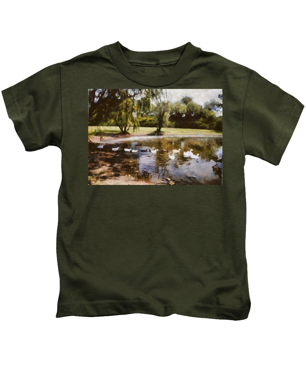 Pond Kids T-Shirt featuring the photograph Ducks In A Row by Shannon Story