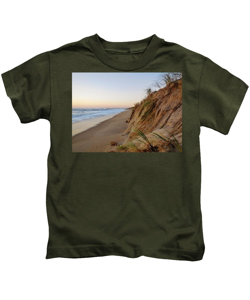 Mark Lemmon Cape Hatteras Nc The Outer Banks Photographer Subjects From Sunrise Kids T-Shirt featuring the photograph Dune Cut And Pier 5 11/03 by Mark Lemmon