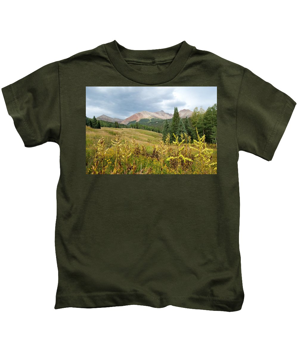 San Juans Kids T-Shirt featuring the photograph Early Autumn In The San Juans - Mount Wilson And Wilson Peak by Cascade Colors