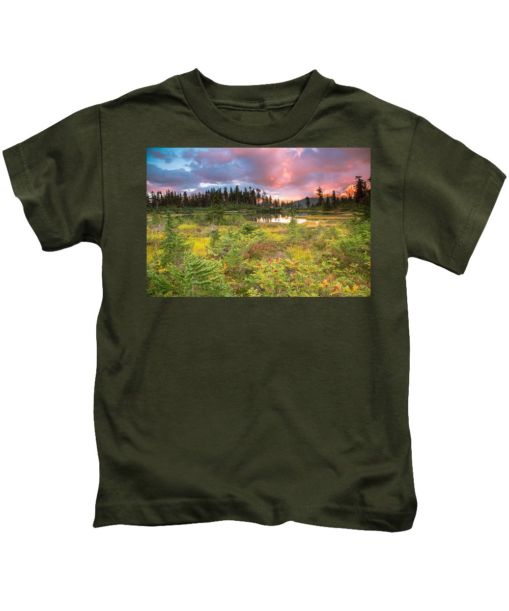 Sunset Kids T-Shirt featuring the photograph Early Autumn Meadow Sunset At Mt Baker by Eti Reid