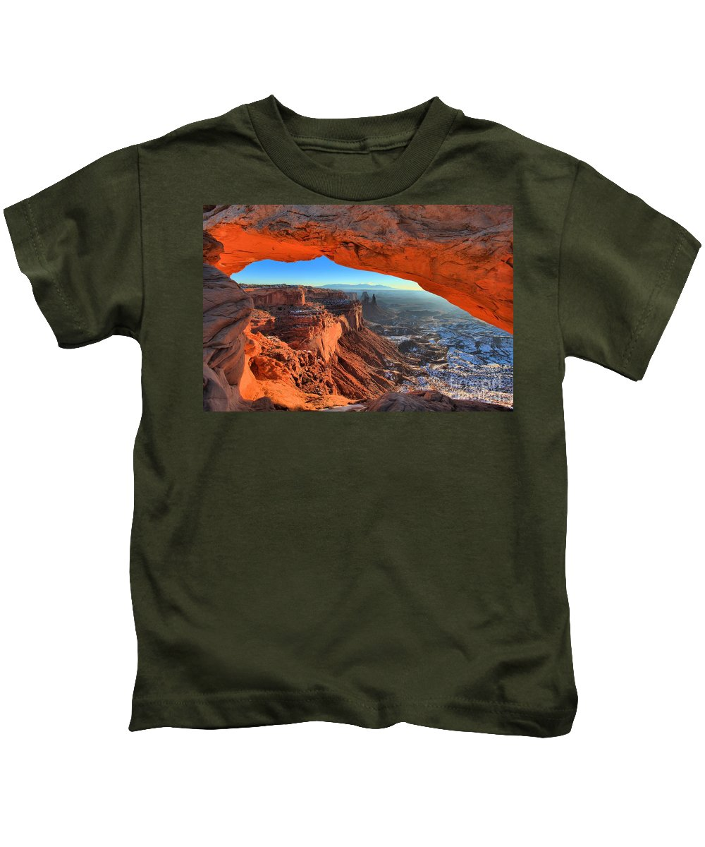 Mesa Arch Sunrise Kids T-Shirt featuring the photograph Early Morning Surprise by Adam Jewell