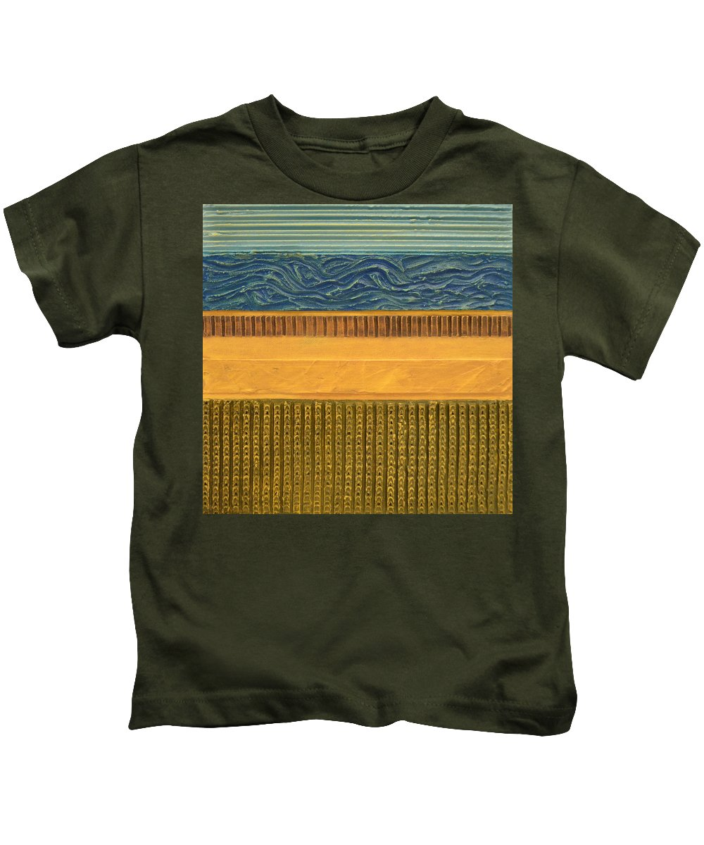 Abstract Kids T-Shirt featuring the painting Earth Layers Abstract L by Michelle Calkins