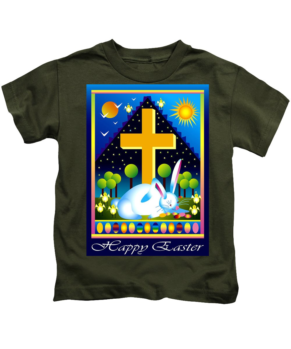 Bunny Kids T-Shirt featuring the digital art Easter Card by Nancy Griswold