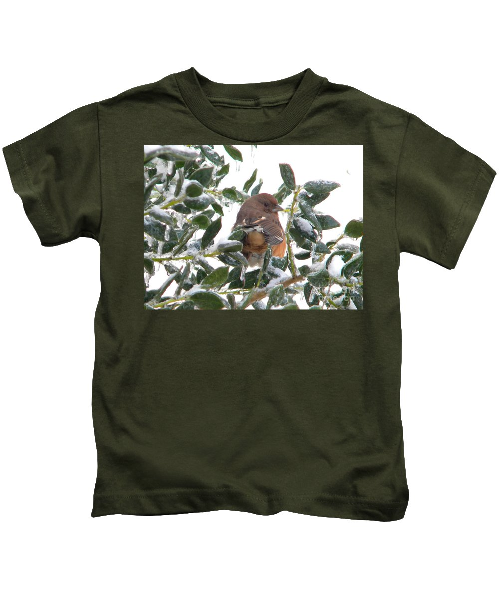 Bird Kids T-Shirt featuring the photograph Eastern Rufous-sided Towhee by Nathanael Smith