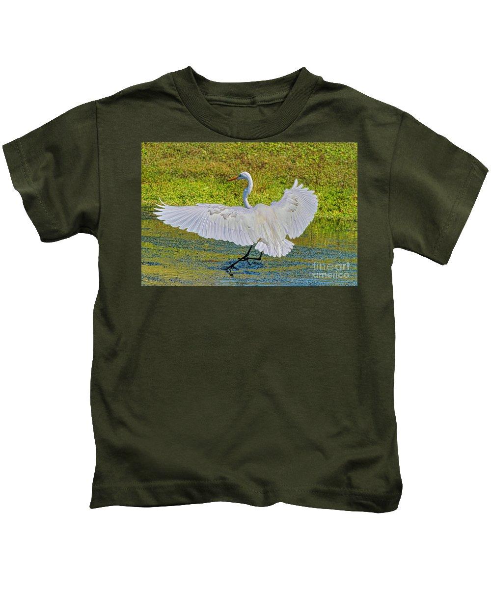 Egret Kids T-Shirt featuring the photograph Egret Full Wing Span by Deborah Benoit