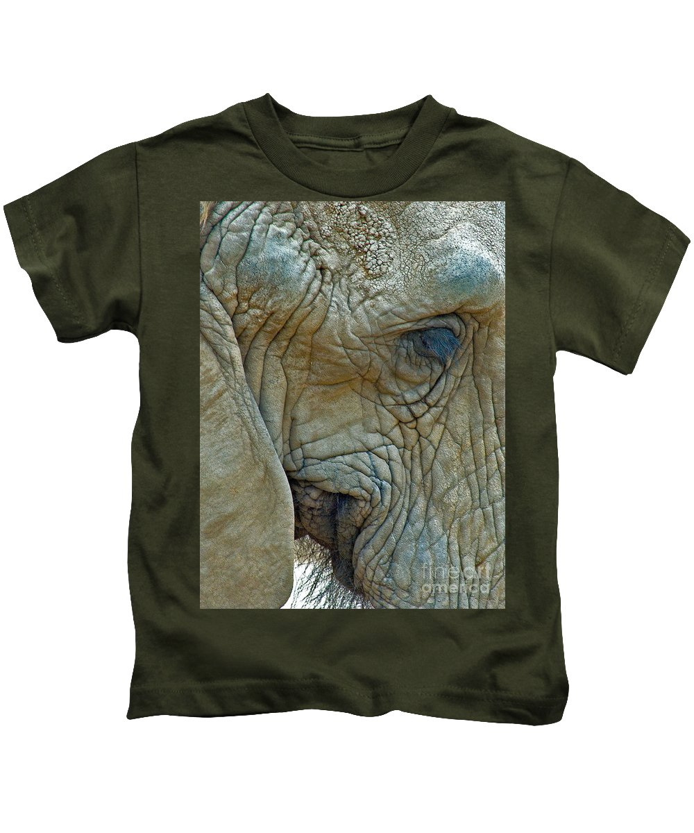 Elephant's Face Photograph. Elephant With Long Eyelashes That Won The Best Of Show. Kids T-Shirt featuring the photograph Elephant's Face by Mae Wertz
