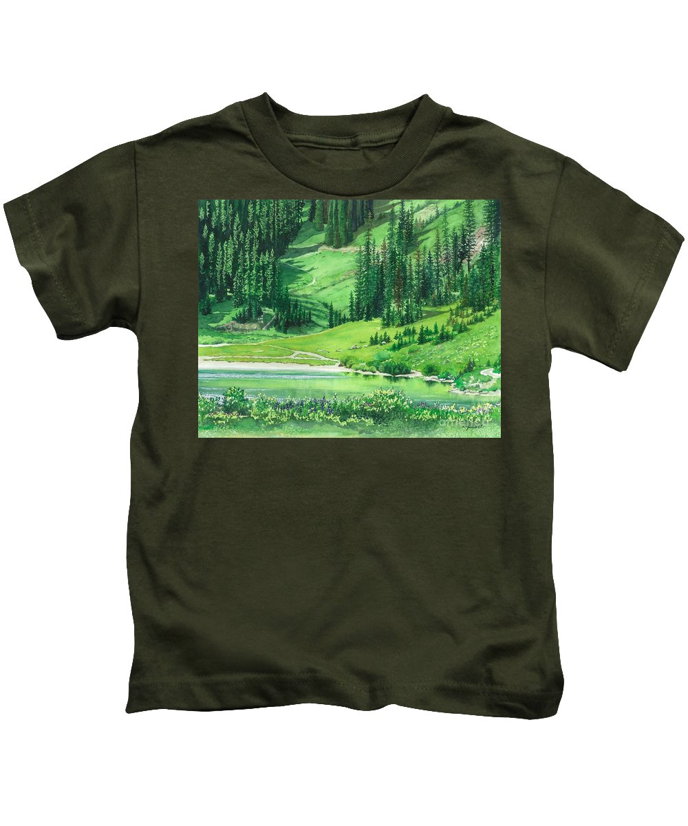 Water Color Paintings Kids T-Shirt featuring the painting Emerald Lake by Barbara Jewell