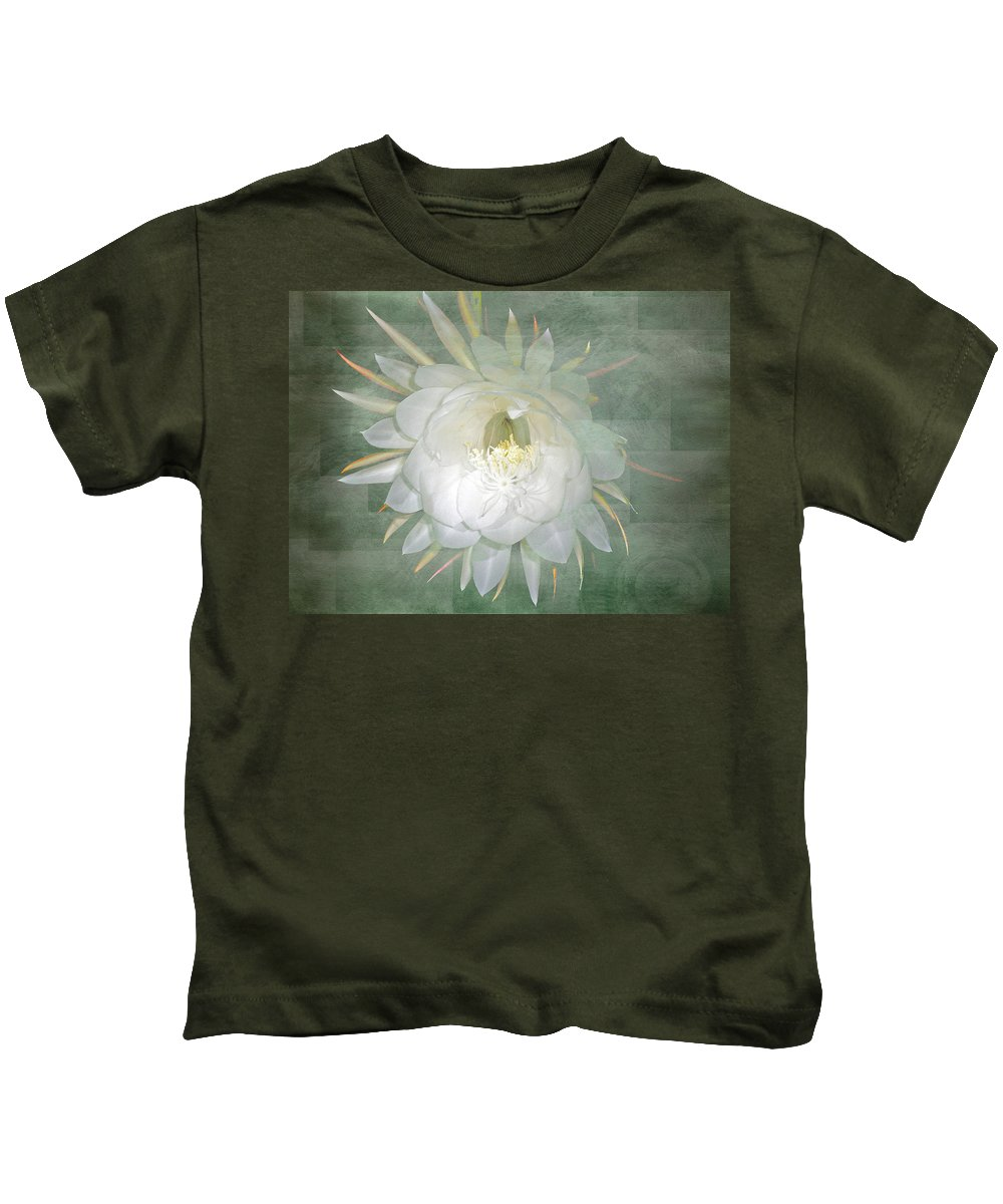 epiphyllum Oxypetallum Kids T-Shirt featuring the photograph Epiphyllum Oxypetallum - Queen Of The Night Cactus by Mother Nature