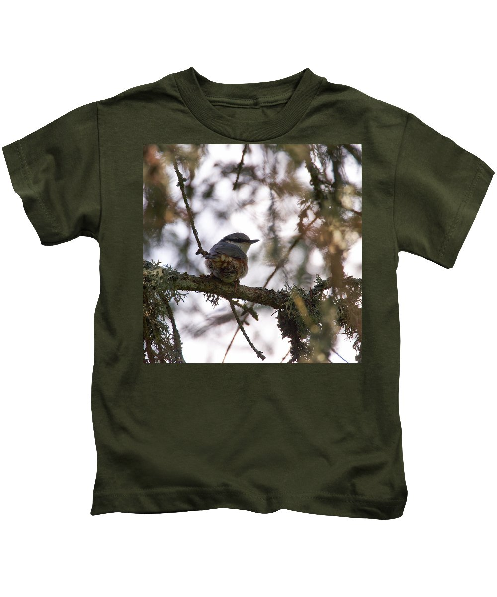 Aggatorp Kids T-Shirt featuring the photograph Eurasian Nuthatch by Jouko Lehto