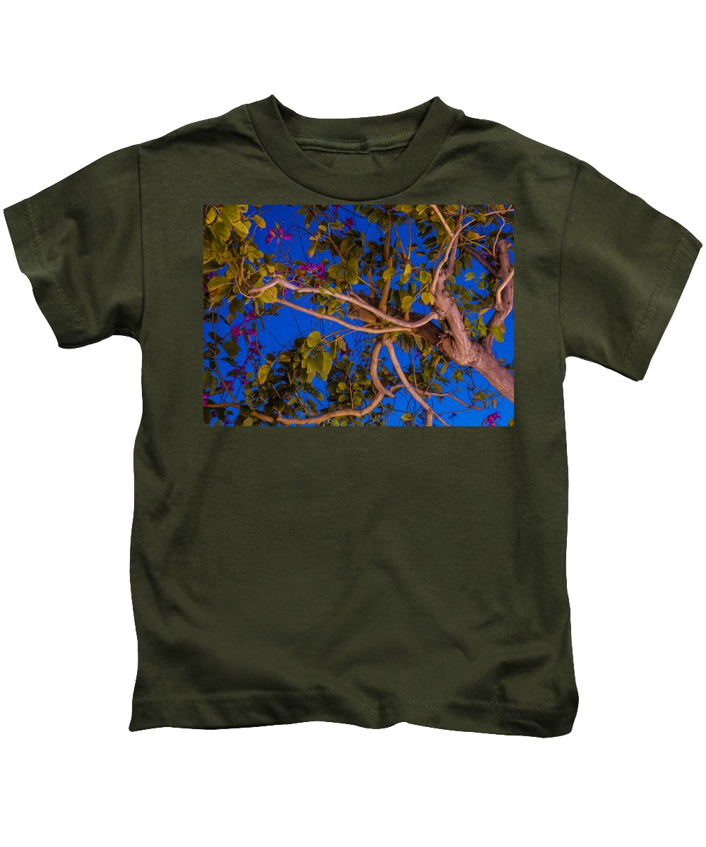 Blue Kids T-Shirt featuring the painting Evening Blues by Omaste Witkowski