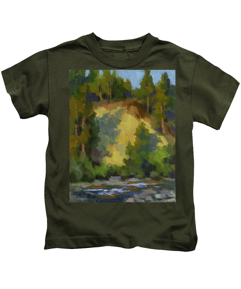Evening Kids T-Shirt featuring the painting Evening Shadows Teanaway River by Diane McClary