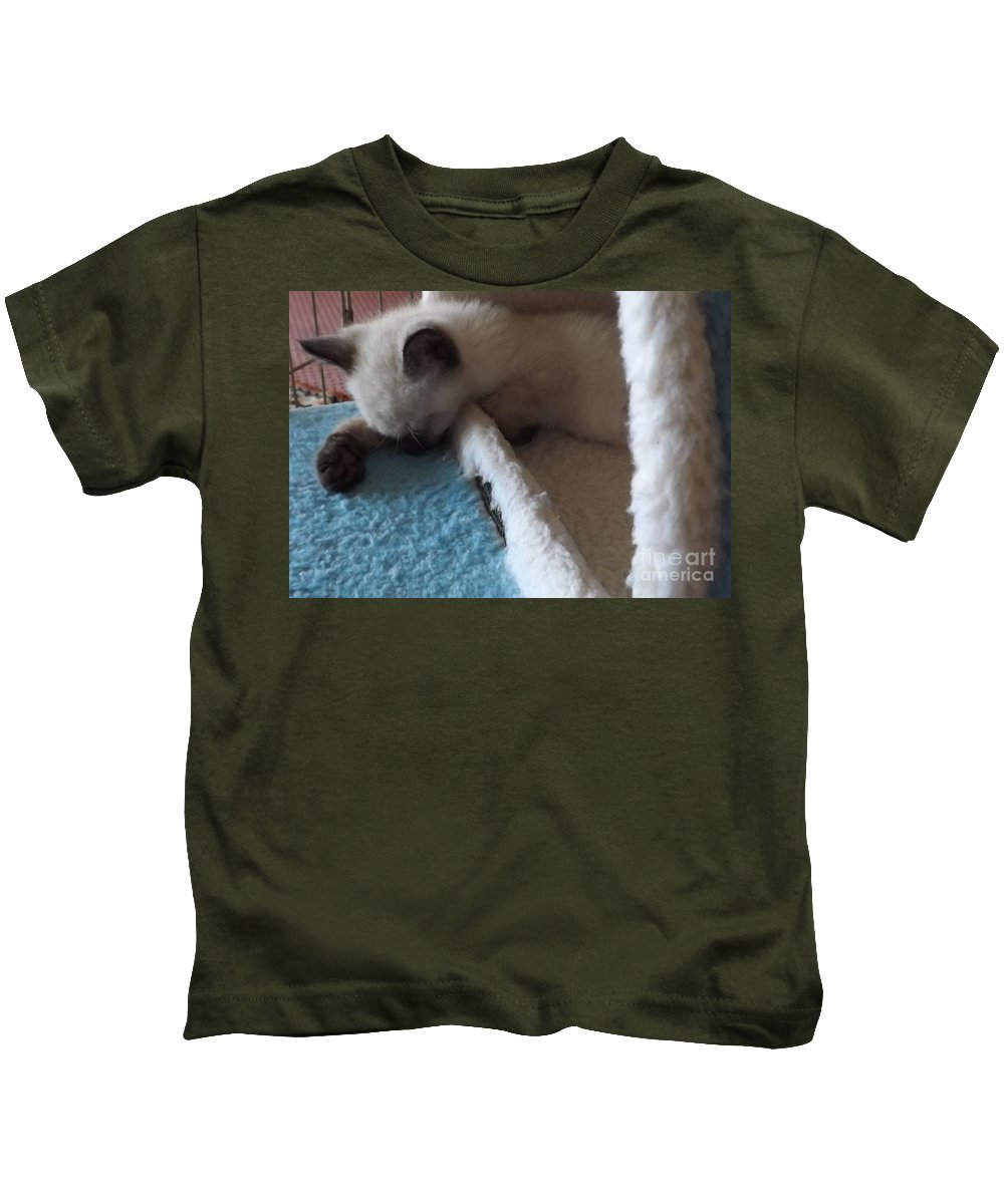 Kitten Kids T-Shirt featuring the photograph Exhausted Ivory by Jussta Jussta
