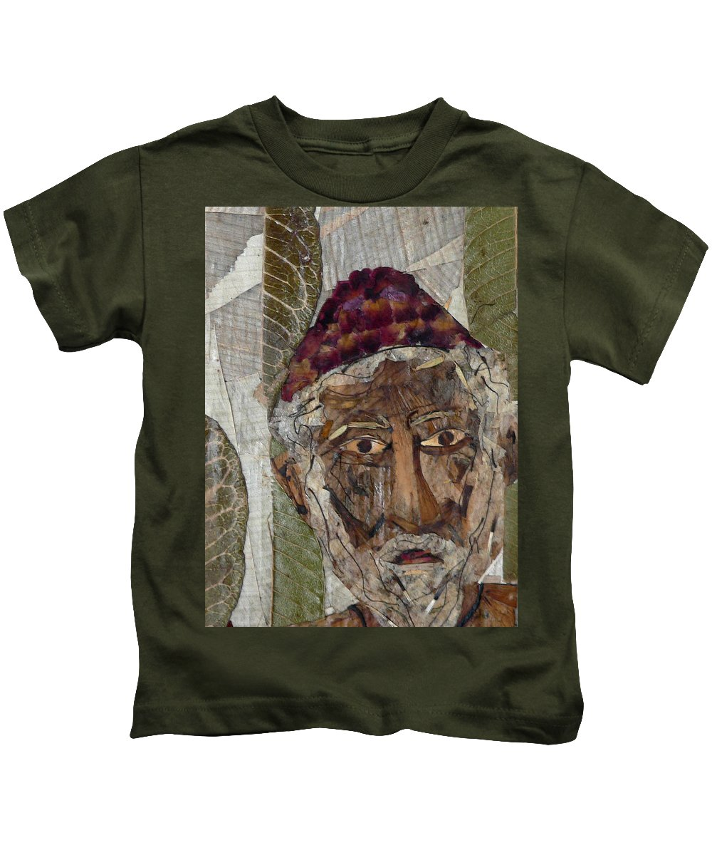 Portrait.holy Person Portrait Kids T-Shirt featuring the mixed media Fakeer by basant Soni