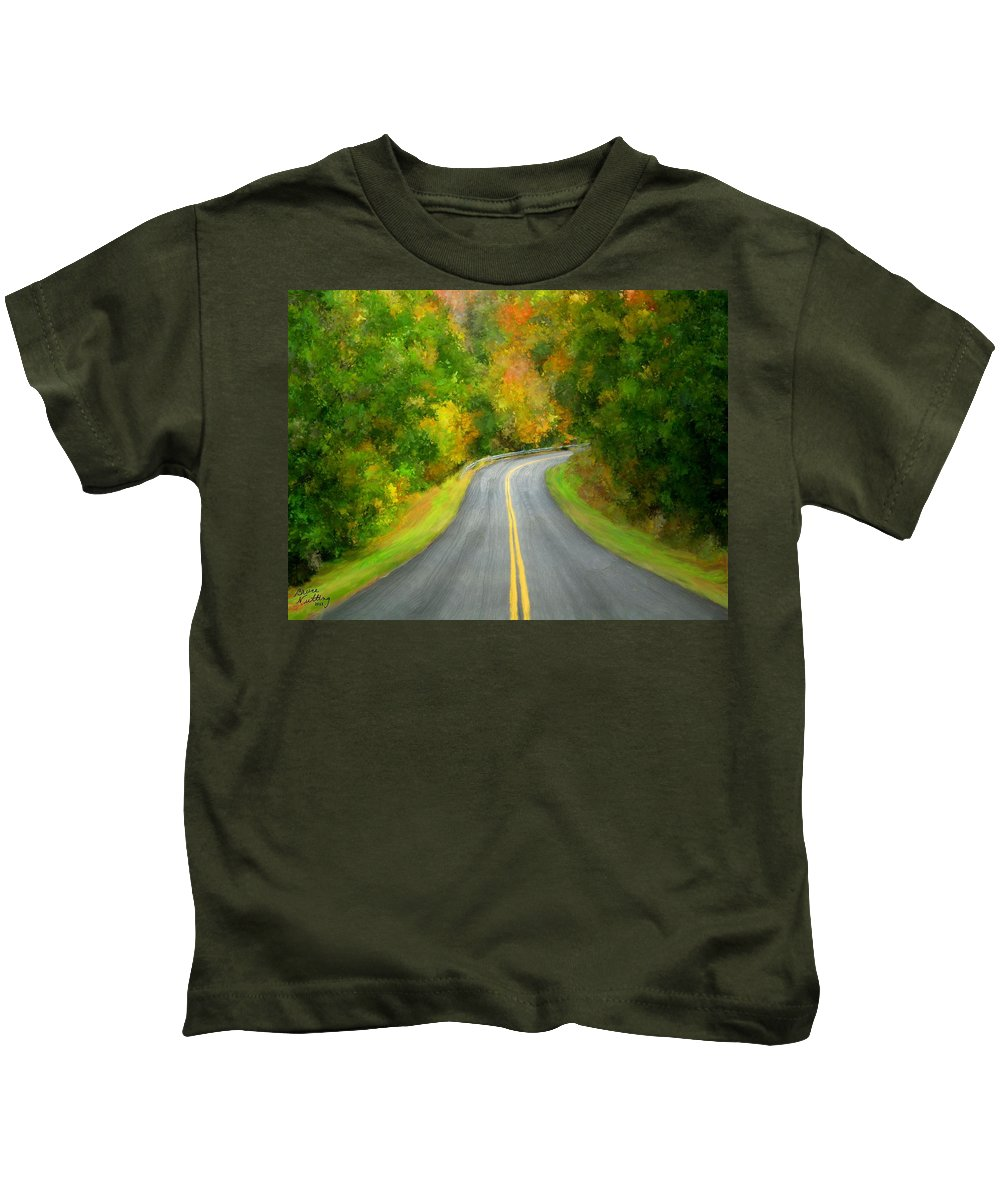 Fall Kids T-Shirt featuring the painting Fall Is Coming Country Road by Bruce Nutting