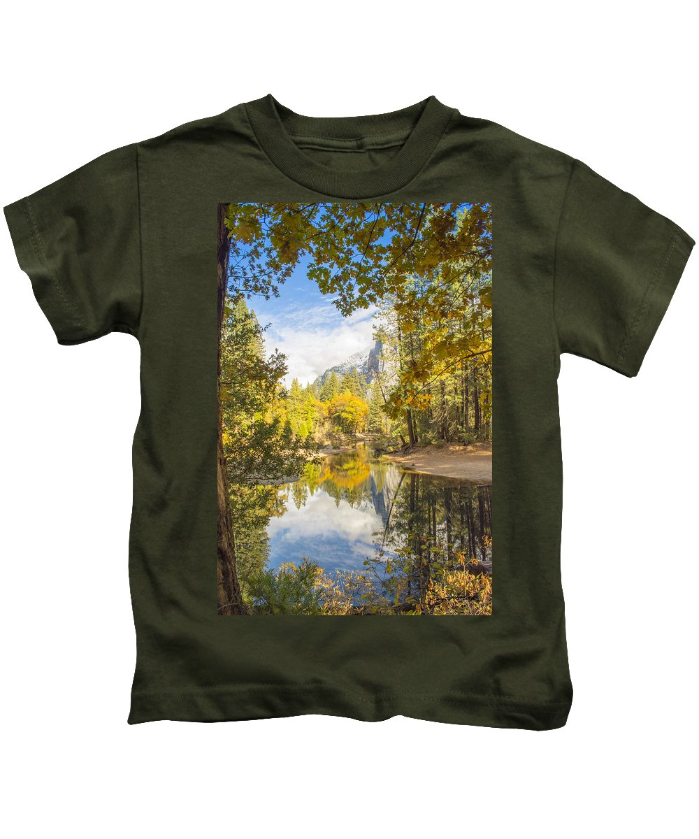 Yosemite Kids T-Shirt featuring the photograph Fall Reflection In Yosemite by Doug Holck