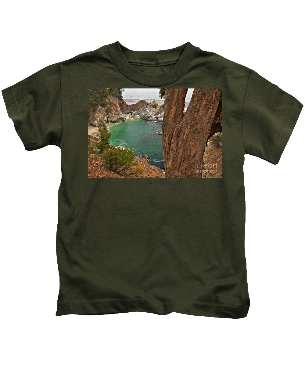 Mcway Falls Kids T-Shirt featuring the photograph Falling Into The Bay by Adam Jewell