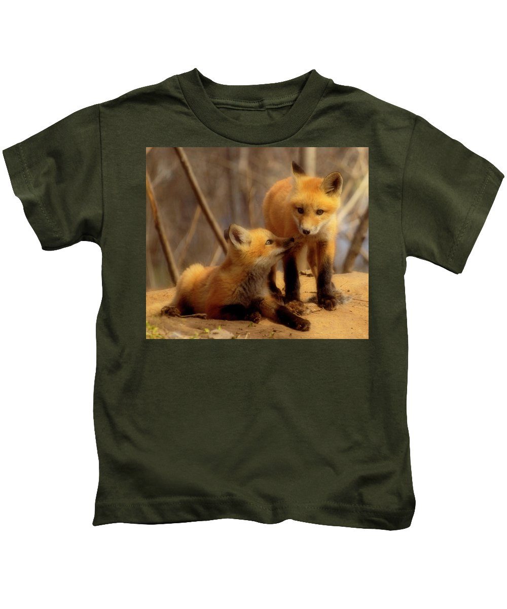 Red Foxes Kids T-Shirt featuring the photograph Family by Thomas Young