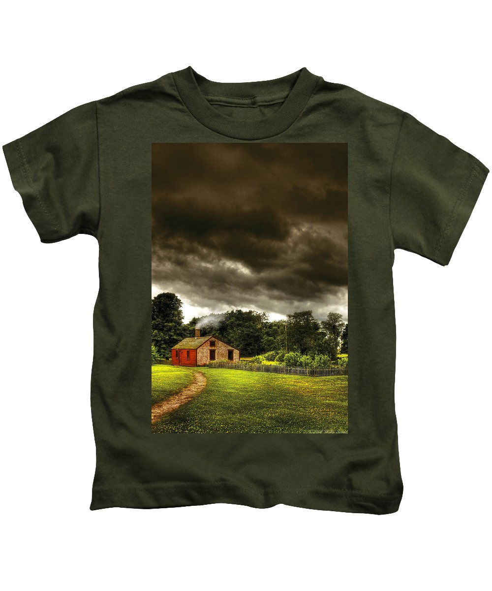 Savad Kids T-Shirt featuring the photograph Farm - Barn - Storms A Comin by Mike Savad