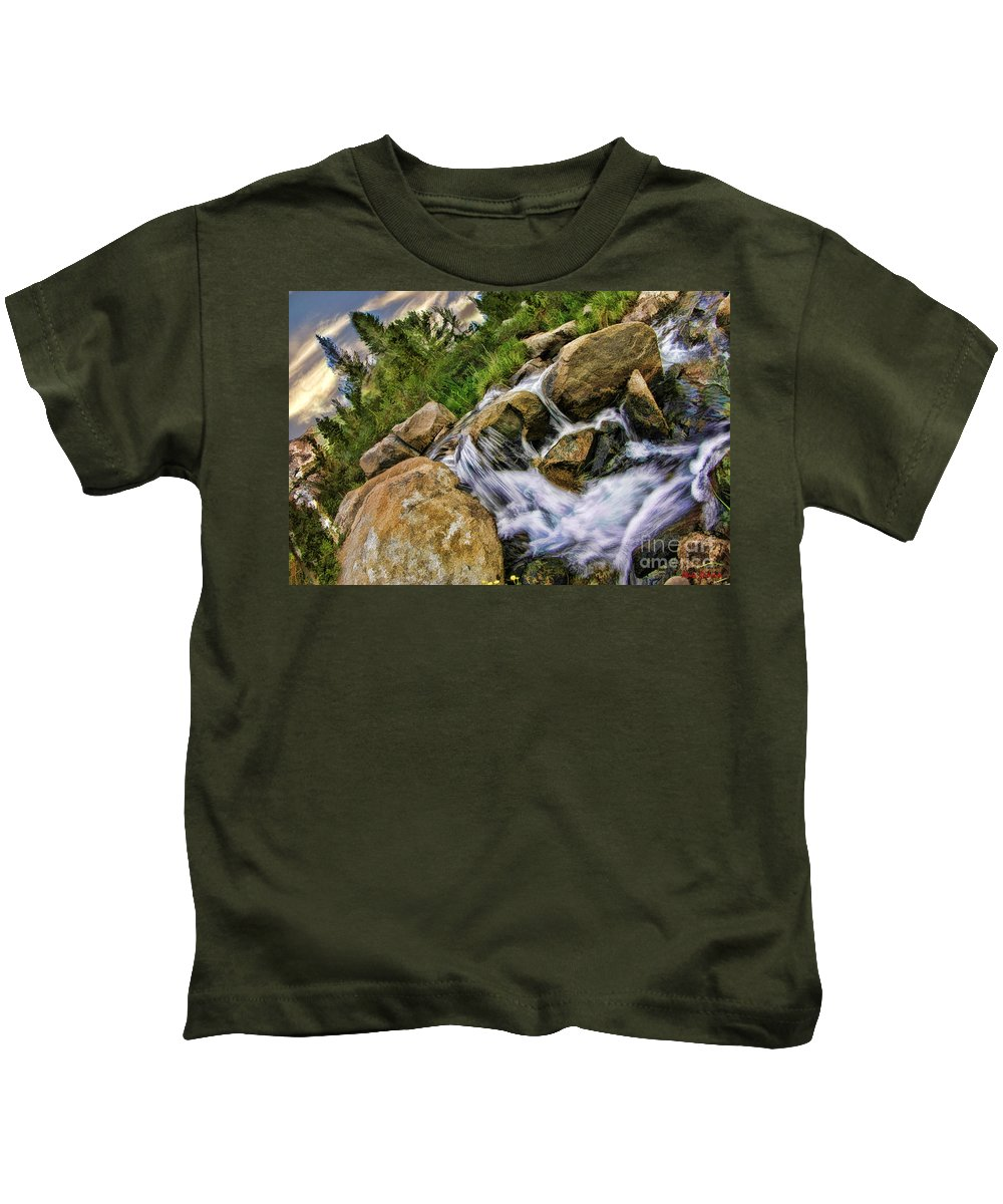 Kids T-Shirt featuring the photograph Fast Moveing Stream by Blake Richards