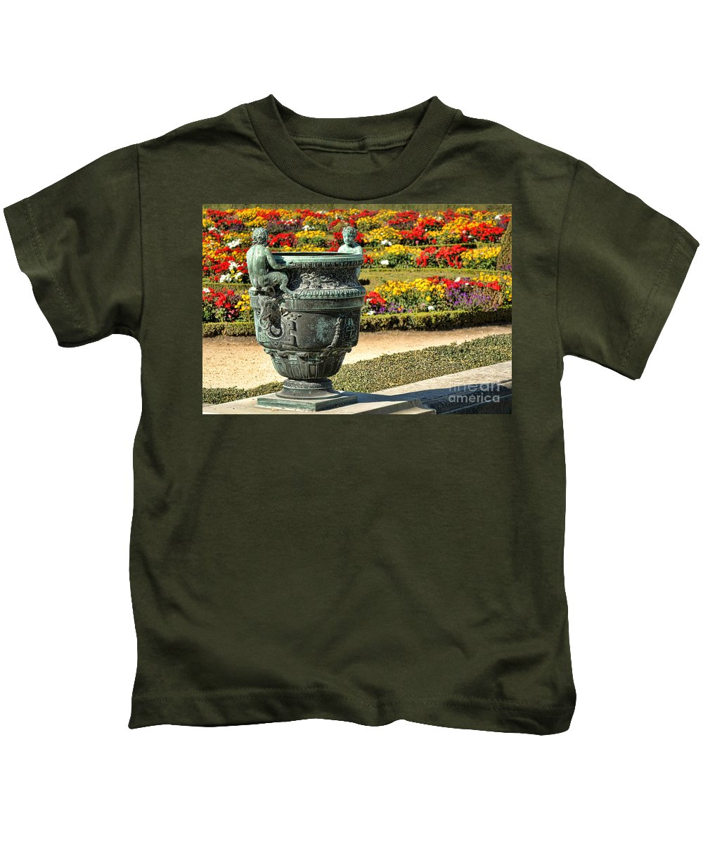 Palace Kids T-Shirt featuring the photograph Fauns In Versailles by Olivier Le Queinec