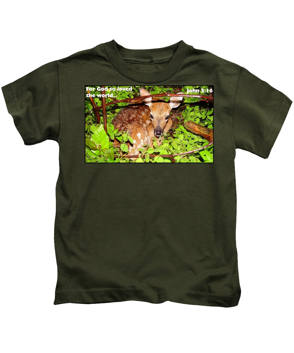Fawn In The Forest.fawn Kids T-Shirt featuring the painting Fawn In The Forest - Inspirational - Religious by James Scott Preston