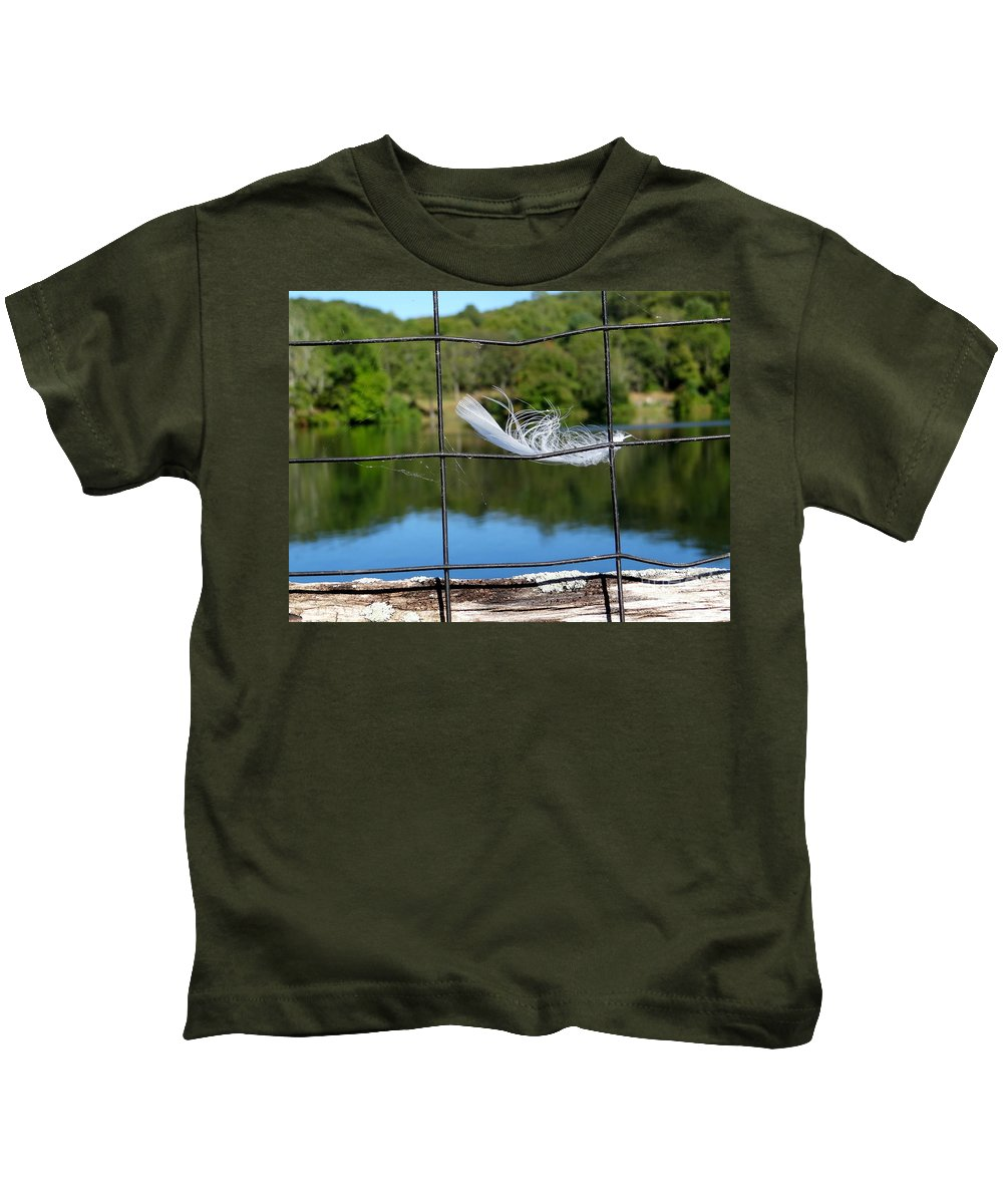 Nature Kids T-Shirt featuring the photograph Feather And Fence by Ed Weidman