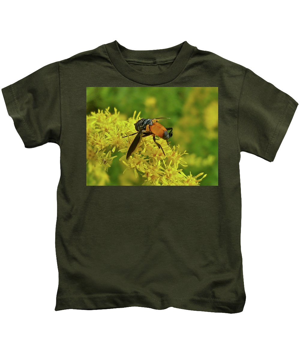 Fly Kids T-Shirt featuring the photograph Feather-legged Fly On Goldenrod - Trichopoda by Mother Nature