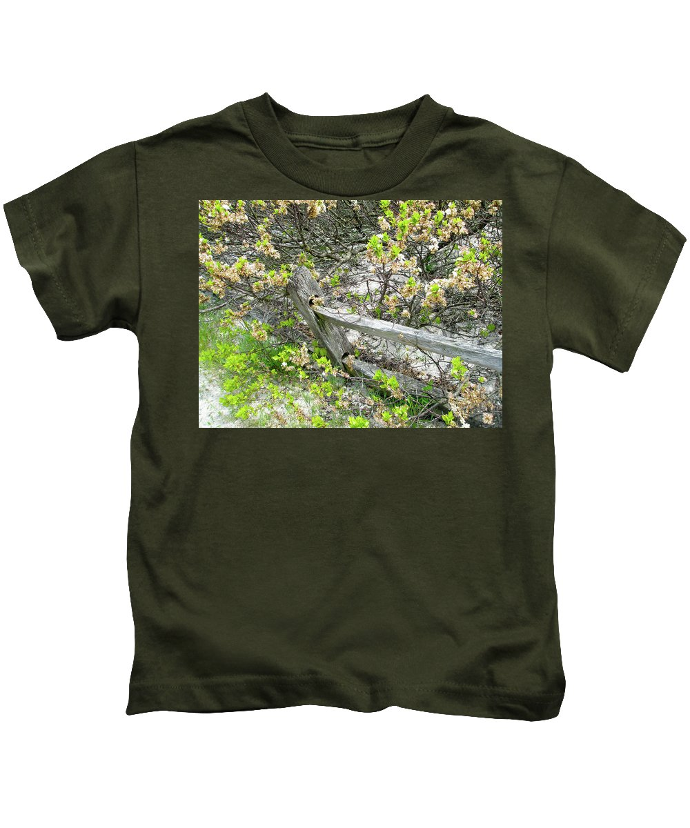 Sand Kids T-Shirt featuring the photograph Fence And Beach Shrub by Mother Nature