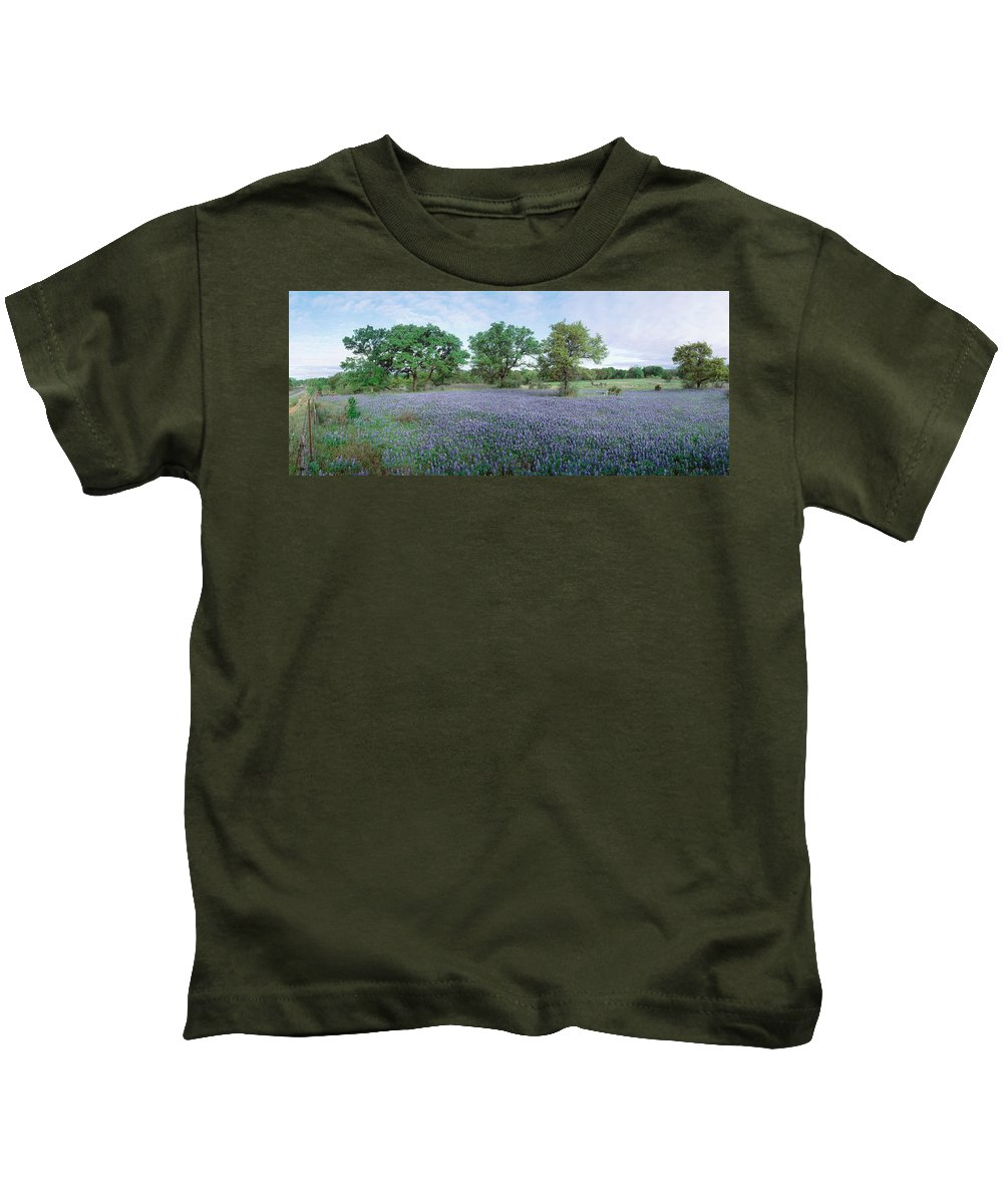 Photography Kids T-Shirt featuring the photograph Field Of Bluebonnet Flowers, Texas, Usa by Panoramic Images