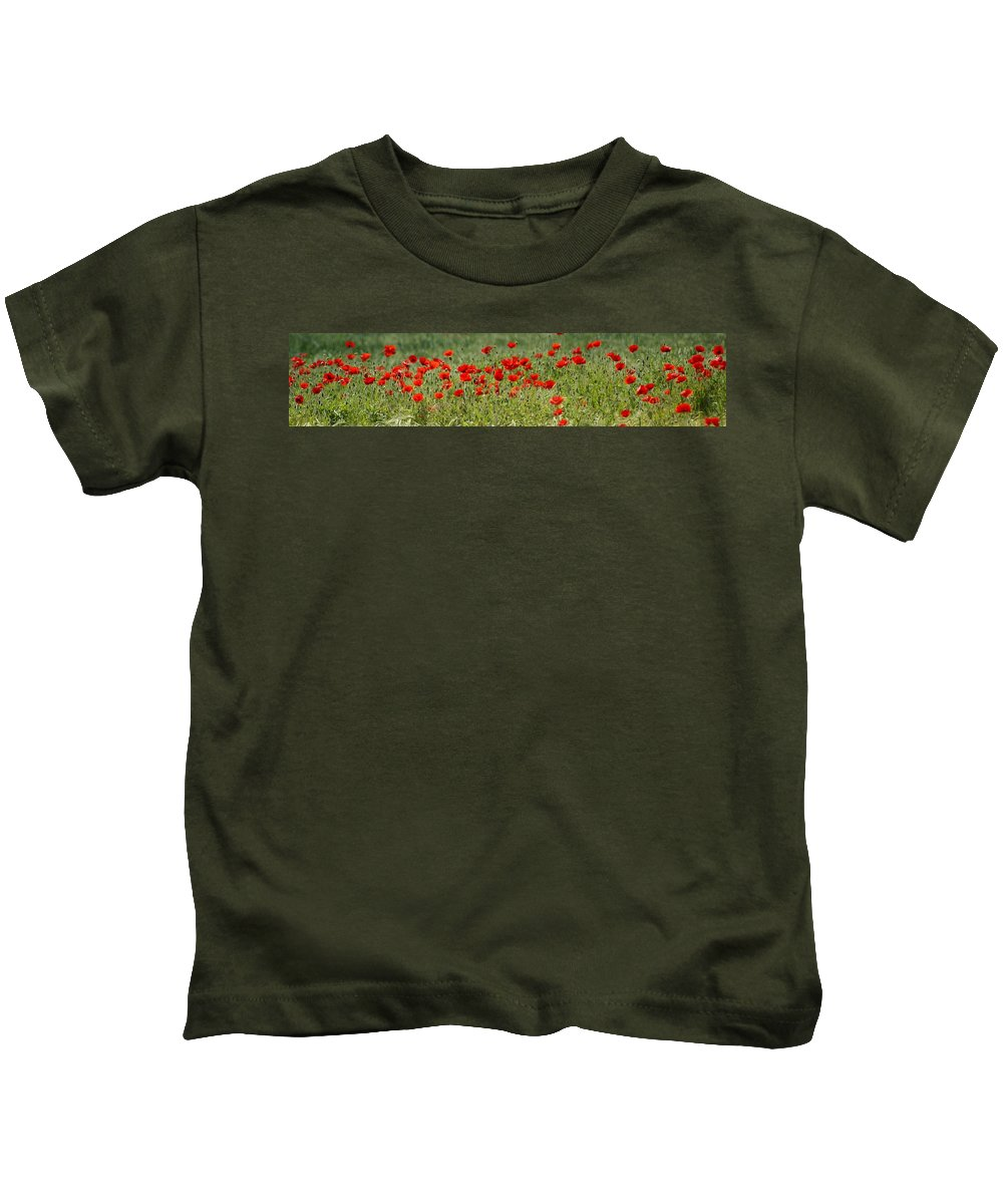 Poppies Kids T-Shirt featuring the photograph Field Of Poppies by Carol Lynch