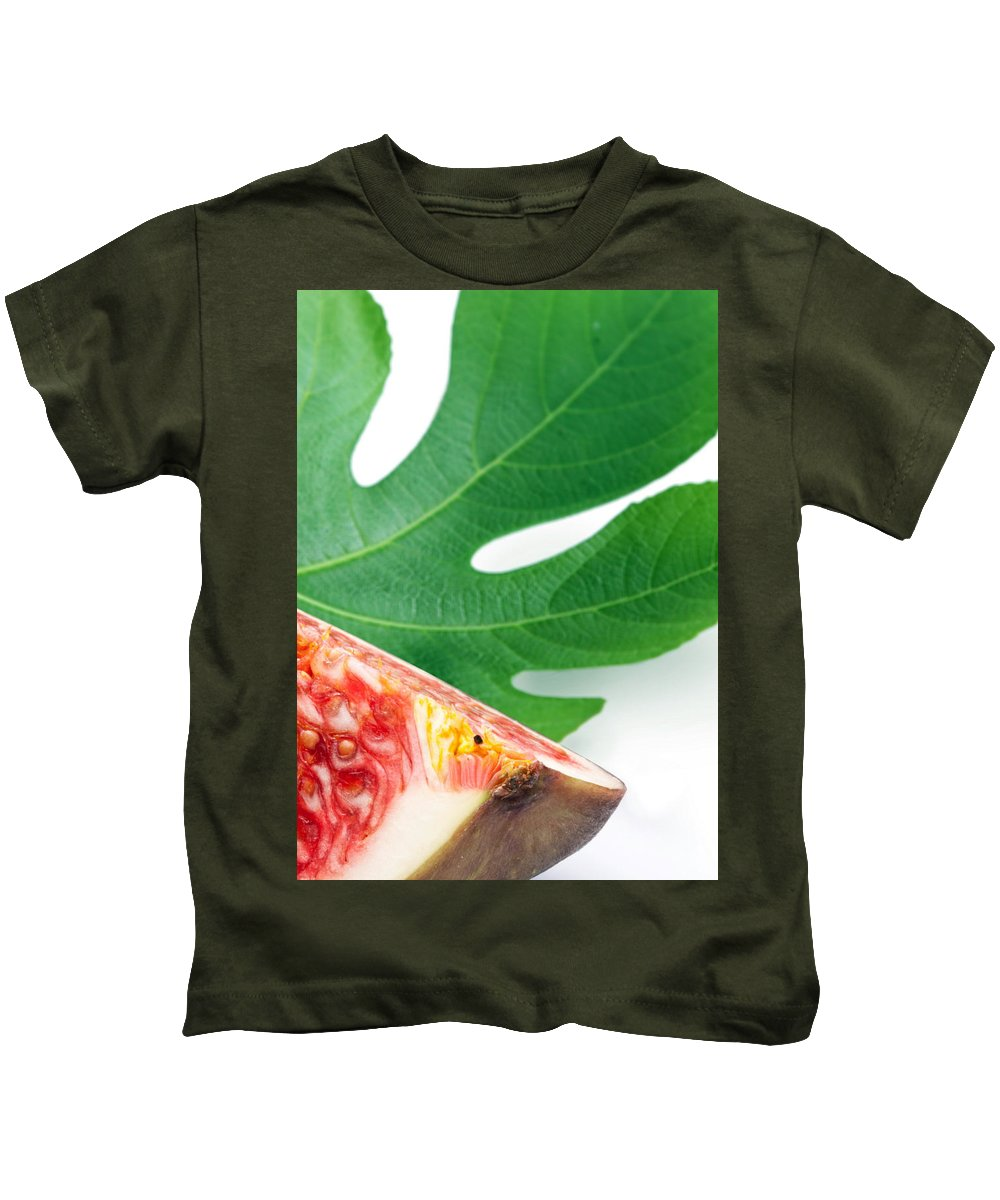 Fig Kids T-Shirt featuring the photograph Fig And Leaf by Munir Alawi