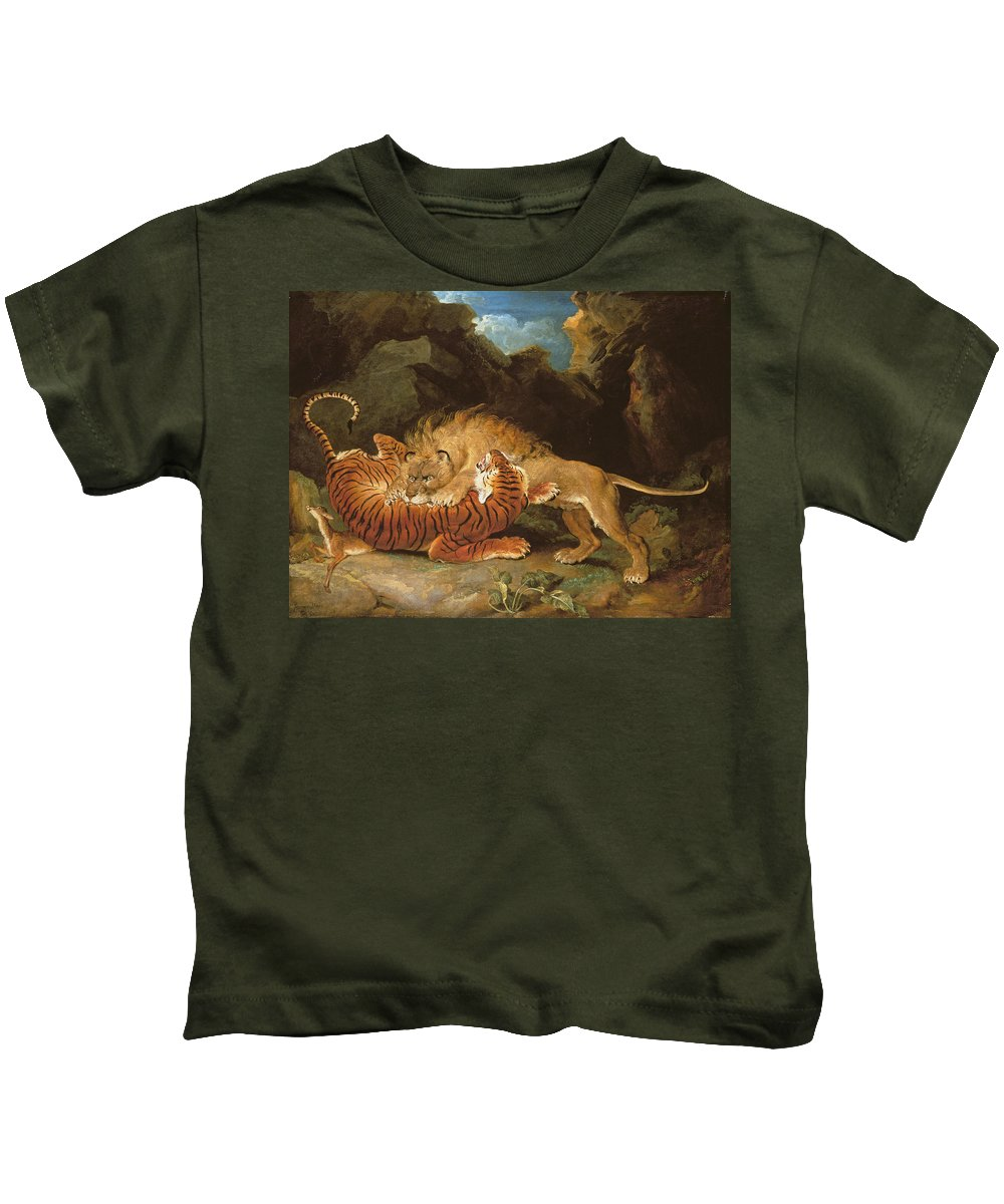 Wild Animals Kids T-Shirt featuring the painting Fight Between A Lion And A Tiger, 1797 by James Ward