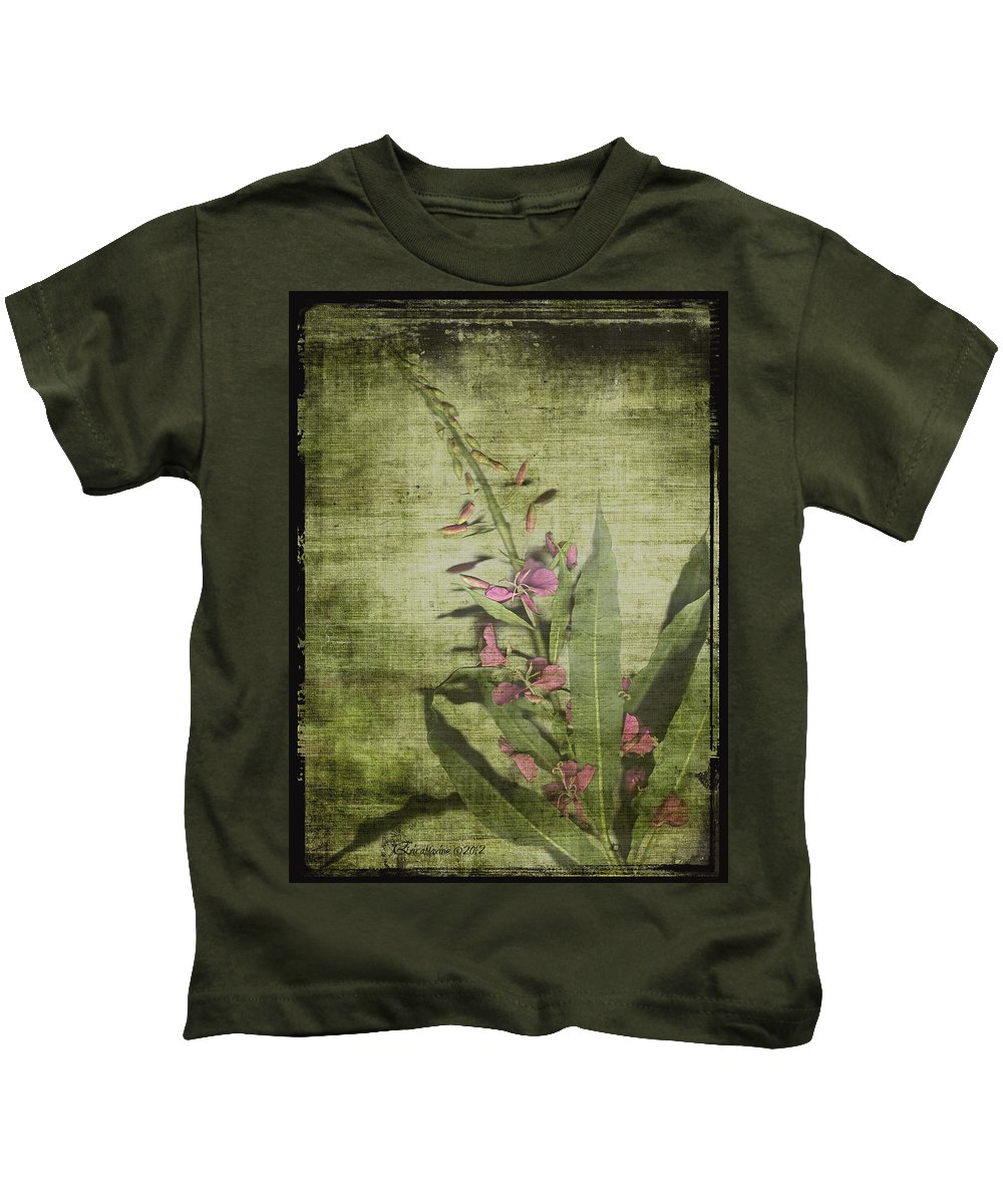 Fireweed Kids T-Shirt featuring the painting Fireweed - Featured In 'comfortable Art' Group by Ericamaxine Price