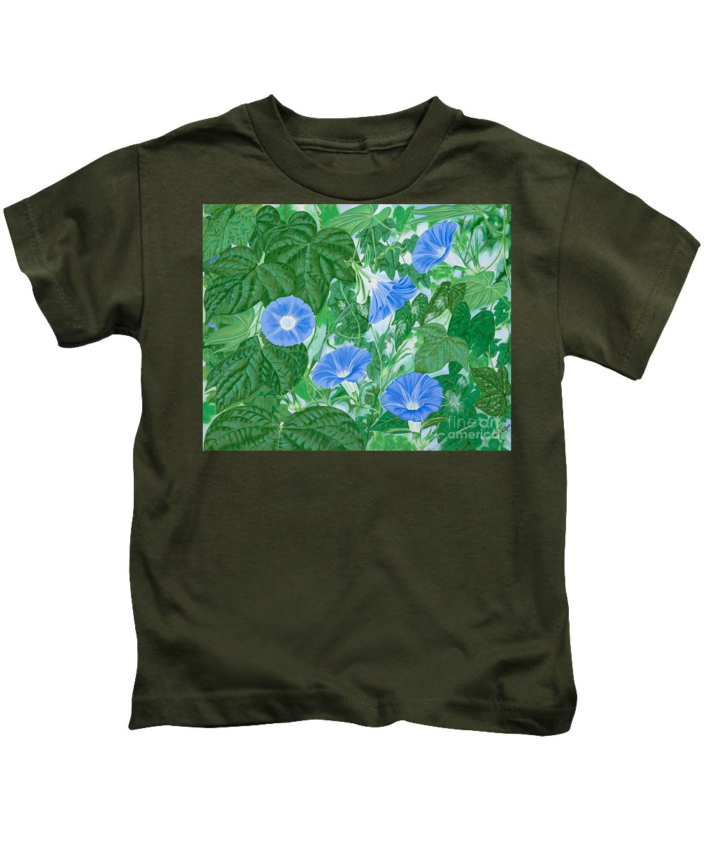 Morning Glory Flowers Kids T-Shirt featuring the painting Five Faces Of Bridget by John Wilson