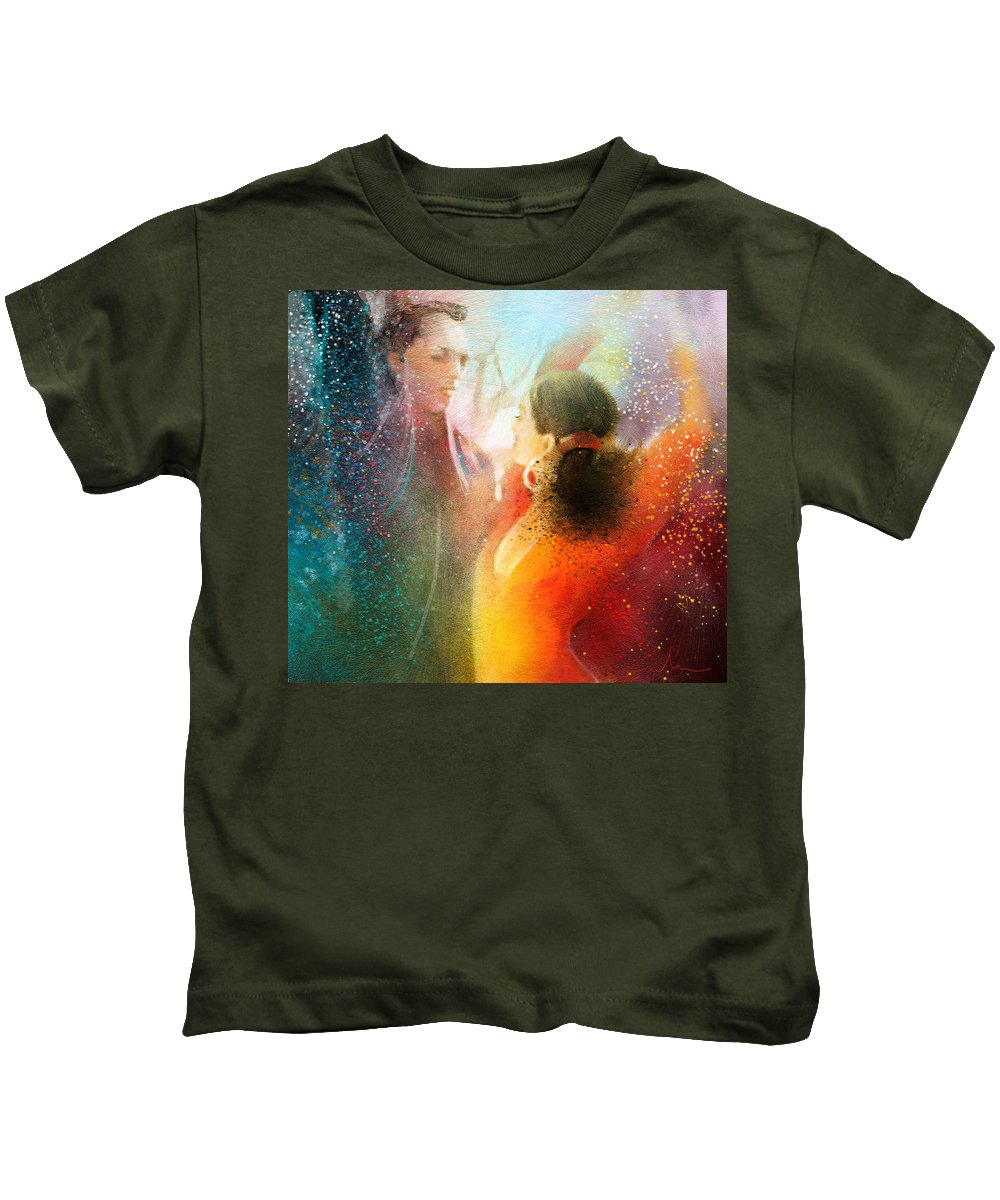 Flamenco Painting Kids T-Shirt featuring the painting Flamencoscape 09 by Miki De Goodaboom