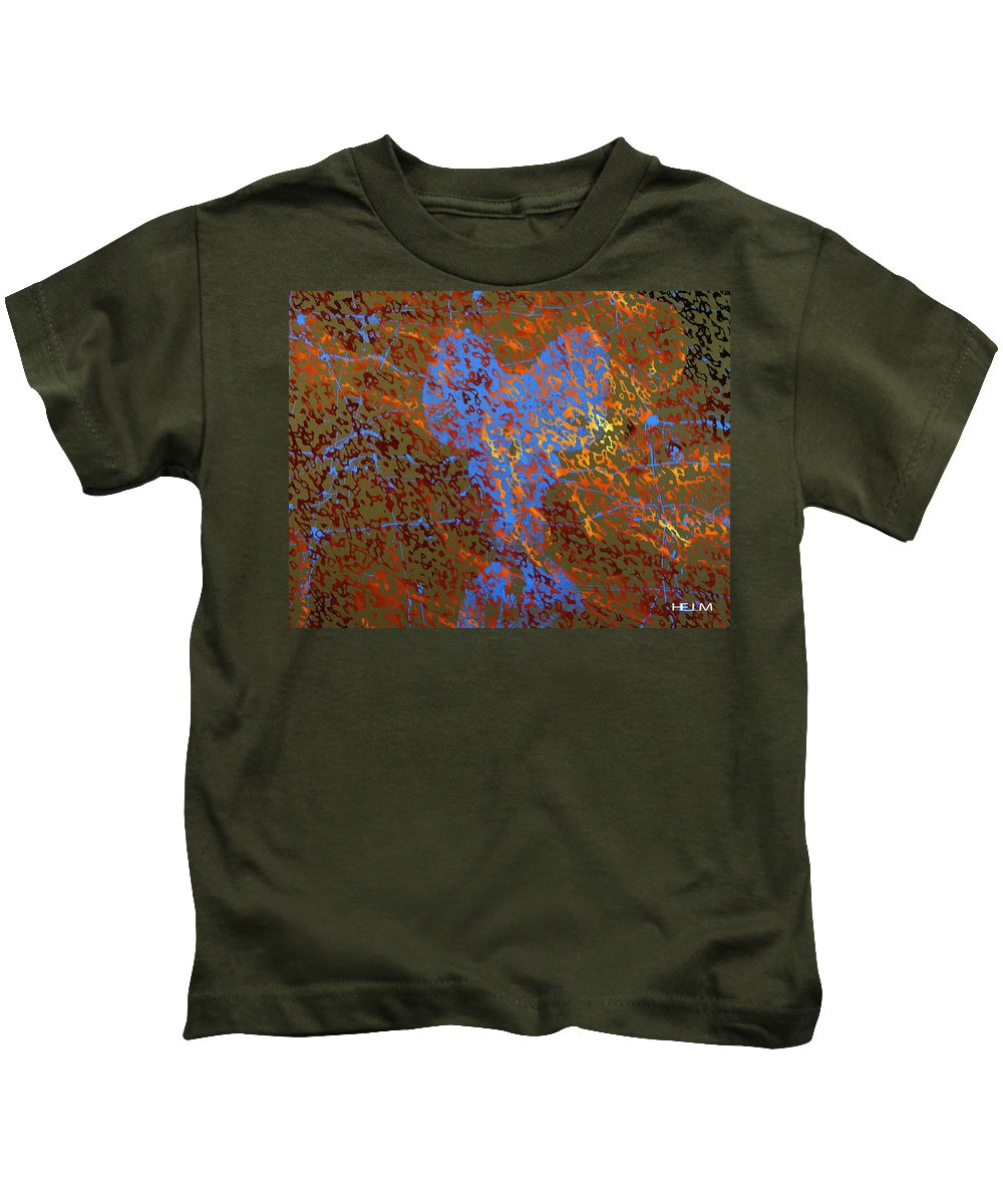 Lovers Paintings Kids T-Shirt featuring the painting Flaming First Impressions by Mayhem Mediums